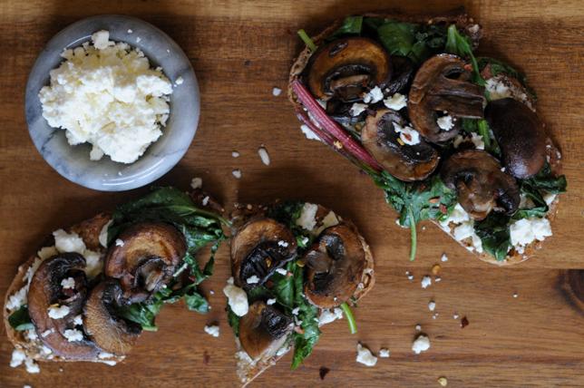 Toast with Seared Mushrooms, Smashed Feta and Wilted Greens on @heathersdish #toastedwednesdays