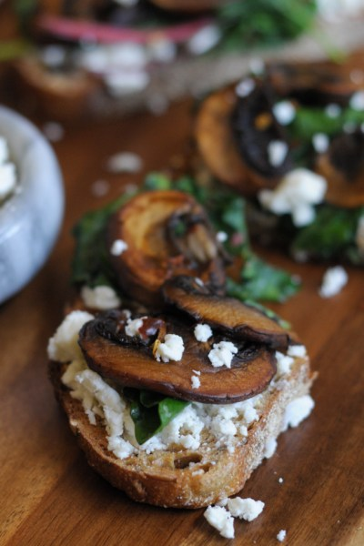 Toast with Seared Mushrooms, Smashed Feta and Wilted Greens on @heathersdish #toastedwednesdays