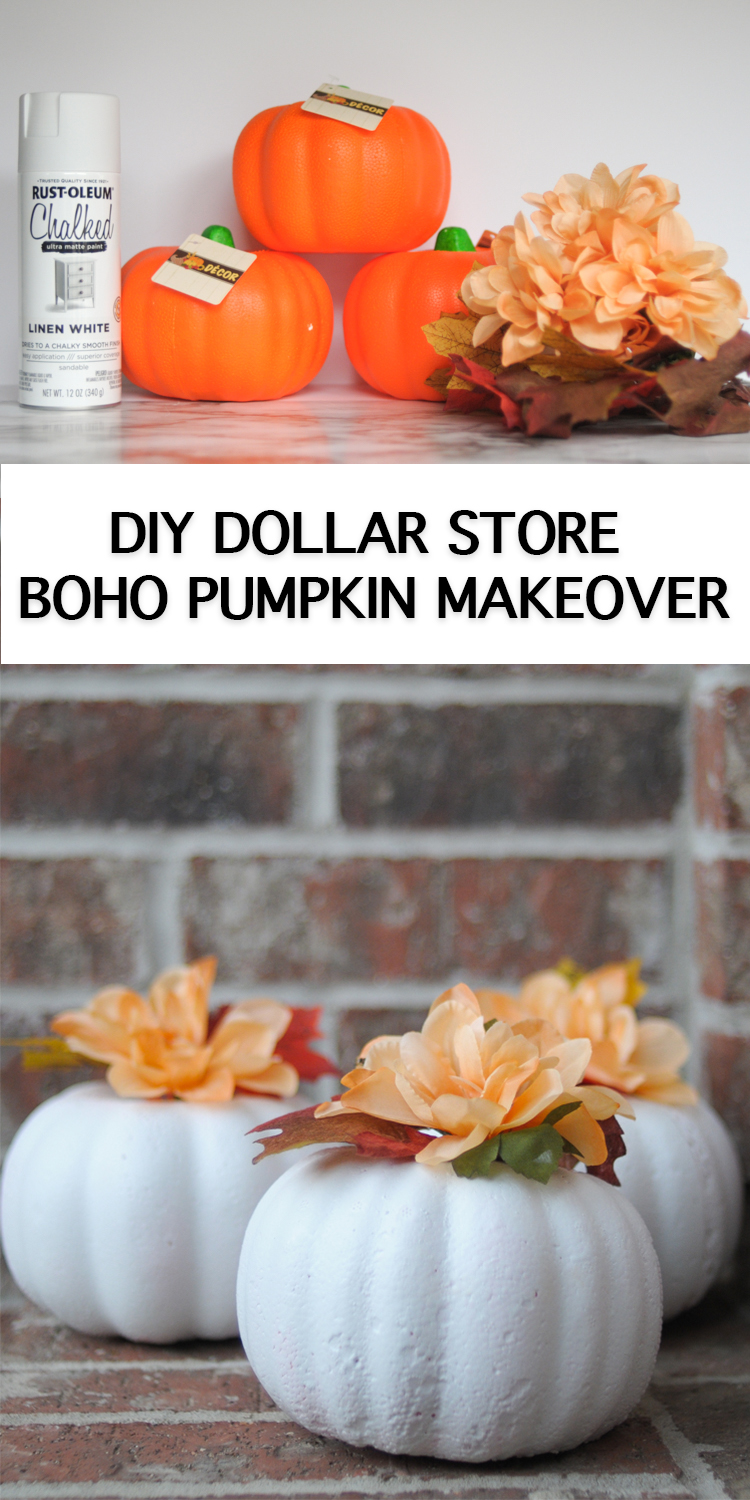 DIY Dollar Store Boho Pumpkin Makeover is an inexpensive and easy craft to usher in the fall season!