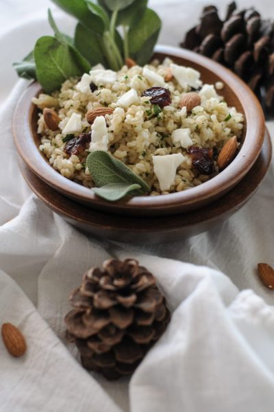 Fall Seasoned Brown Rice with Dried Cherries, Almonds, Brie and Sage