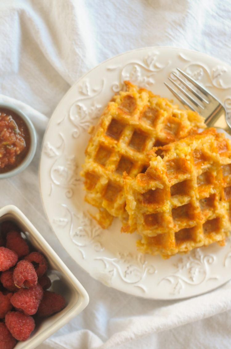Cheesy rice waffles combine a few basic on-hand ingredients in a waffle iron to make a magical waffle you'll want at every meal for the rest of your life! @heathersdish @RicelandFoods #partnership