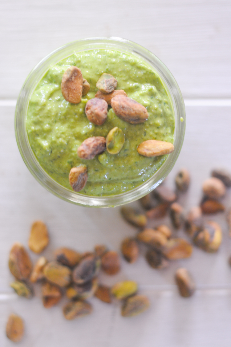 Creamy spinach pistachio pesto is a veggie-packed sauce you can toss with roasted veggies, serve on your protein of choice, or even use to dress a salad! @heathersdish with @produceforkids #sponsored