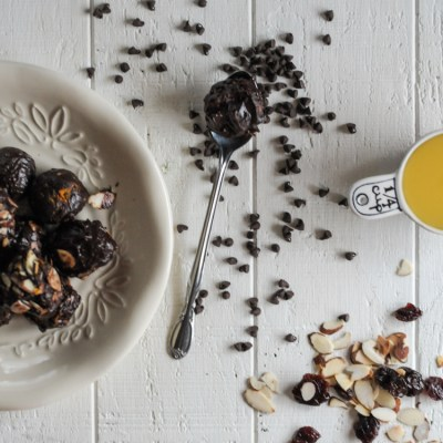 Granola-Stuffed Orange-Scented Dark Chocolate Truffles