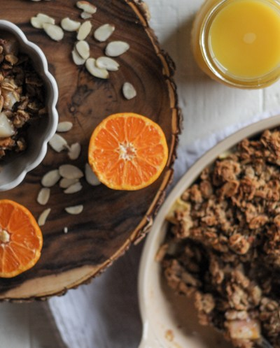 Naturally Sweetened Breakfast Orange Pear Crisp is basically dessert for breakfast. Packed with fruit, whole grains and healthy fats this is one breakfast you won't want to skip! With @heathersdish and @AmazingInside #sponsored #amazinginside