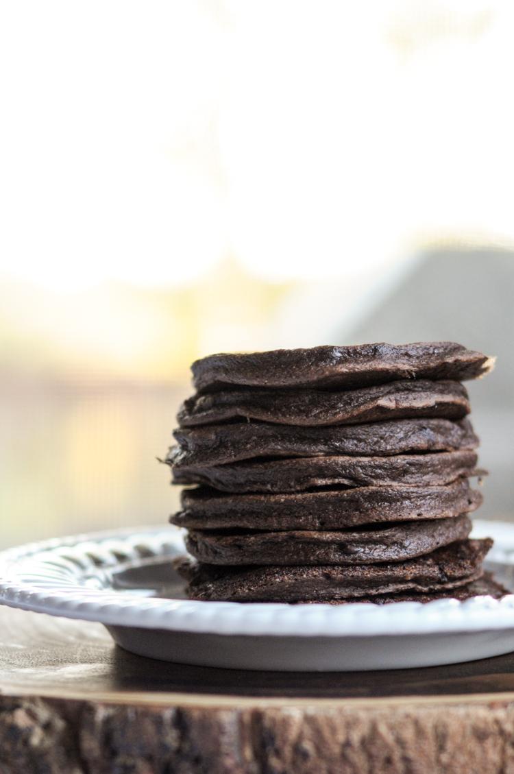 Sneaky Veggie Dark Chocolate Protein Pancakes @heathersdish