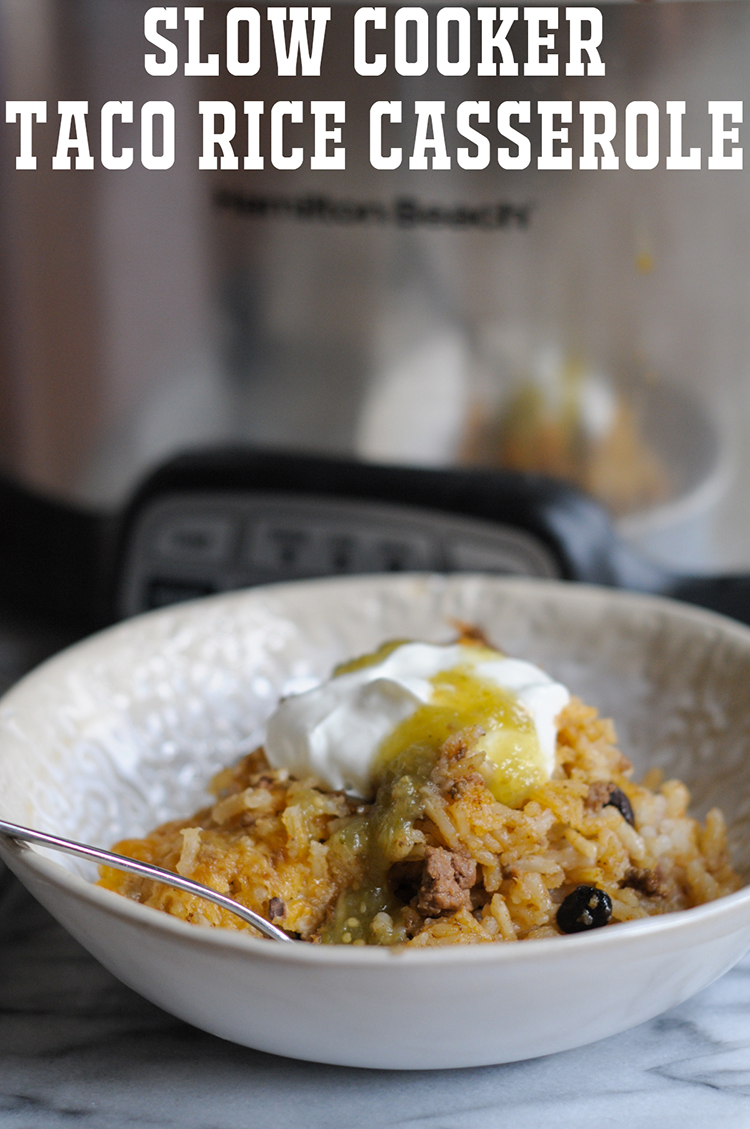Slow Cooker Taco Rice Casserole from @RicelandFoods and @heathersdish