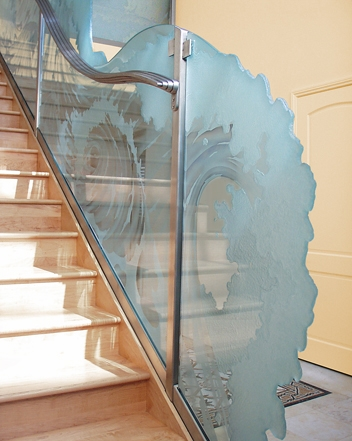 Etched Glass Railing Designs Glass Decorative Partition Wall   Etched Glass Stair Panels   Bannister   Mirror   Tempered Glass   Duplex   Glass Etching