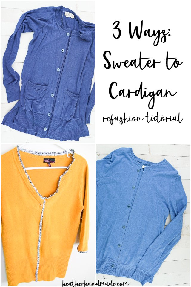 Sewing tutorial: 3 ways to make a cardigan from a sweater