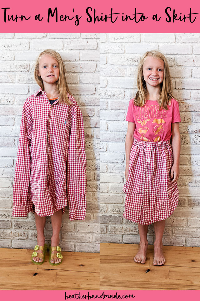 Make a Girl's Skirt from a Men's Shirt - Easy Sewing Tutorial