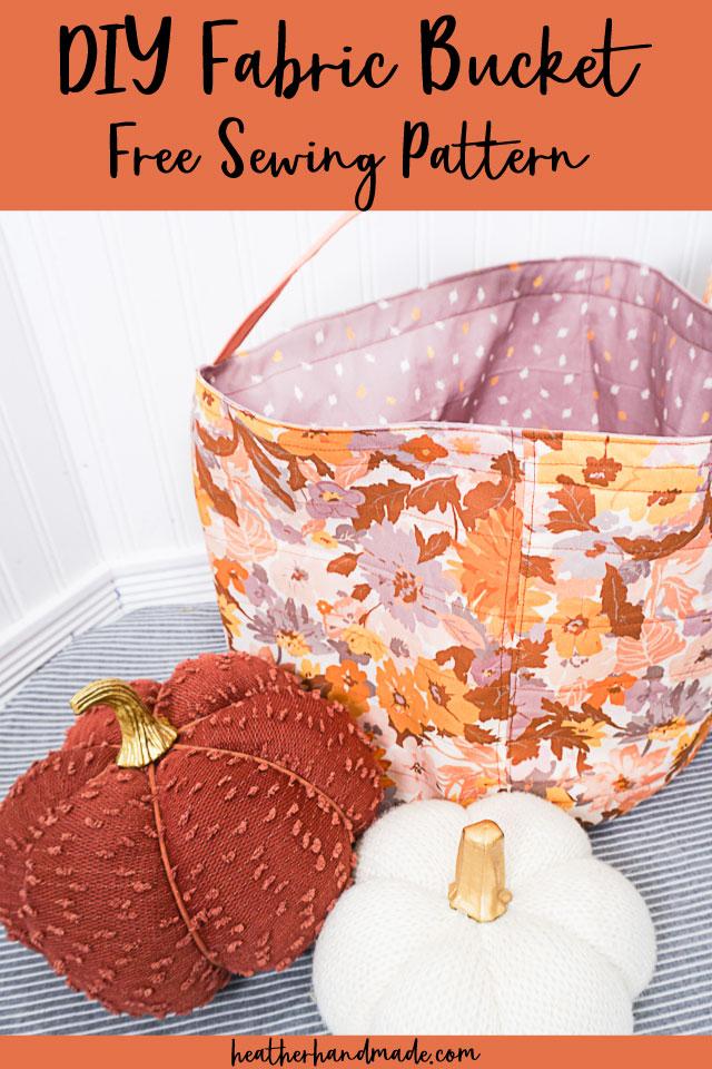 Halloween Fabric Bucket Free Sewing Pattern