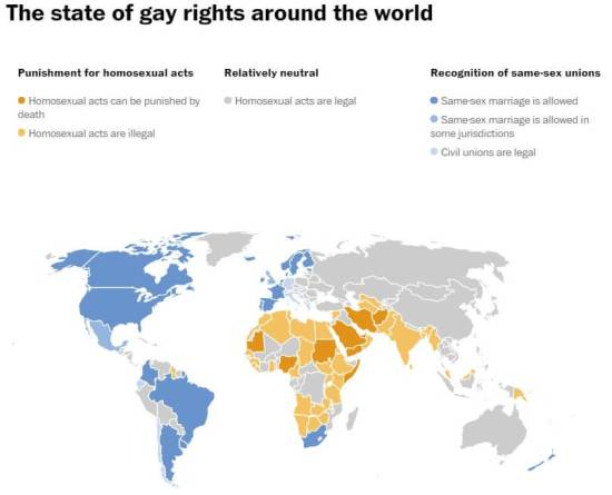 State of Gay Rights Worldwide 2016 (Source: Washington Post)