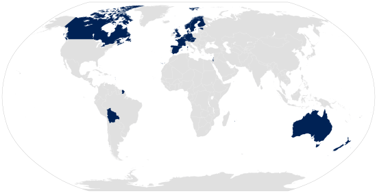 Map of Countries with transgender military service