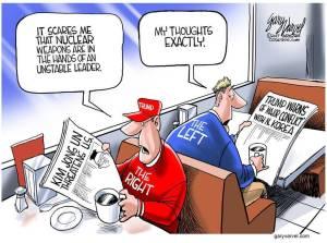 Right vs Left on North Korea cartoon.