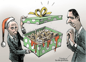 Cartoon Putin presenting Aleppo to Assad