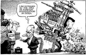 Cartoon Russia providing weapons to Syria
