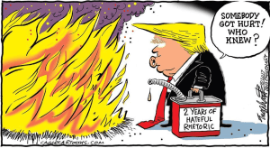 Cartoon: trump putting out the fire with gasoline