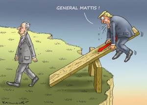 Cartoon: Mattis walking away from his side of a see-saw. Trump side above a cliff.