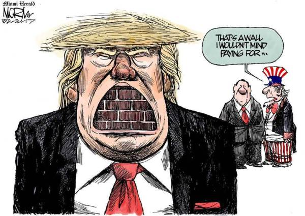 """Cartoon: Trump with a wall in his mouth """"That's a wall I wouldn't mind paying for."""""""