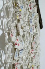 Dawn HartSierra Blooms, 2017 Porcelain, underglaze, glaze, wood, string