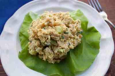 vegan chicken salad on lettuce