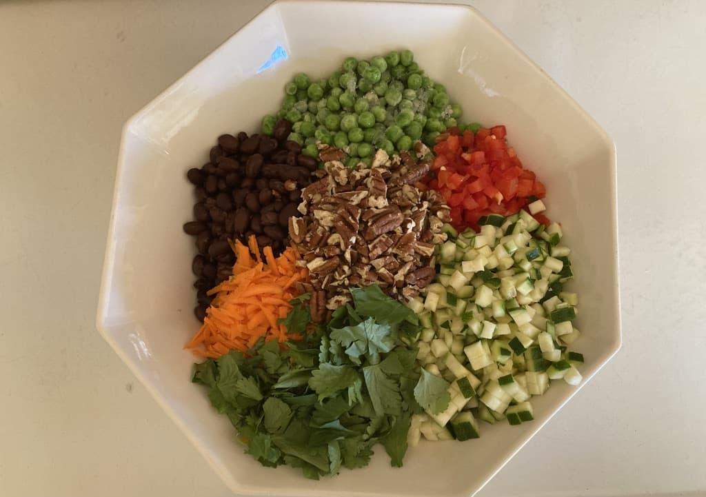 quinoa salad ready to be mixed