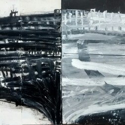 """Black / White, 2016, oil on paper mounted on canvas, 38x84"""""""