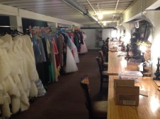 Dressing room with costumes for All Our Tragic in August 2014