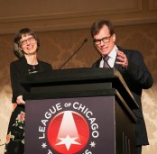 Mona and Michael receiving the League of Chicago Theatres 2017 Tribute Award