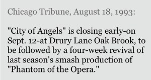 Chicago Tribune, August 18, 1993: City of Angels is closing early