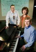 Moises Kaufman with U of Illinois musicology professors Katherine Syer and William Kinderman