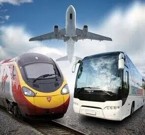 London transportation options Buses and Trains and an airplane