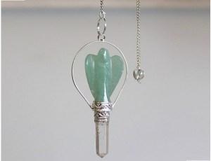 Angel pendulum with ring Green Aventurine