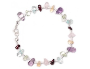 liquid silver bracelet with mxd crystals
