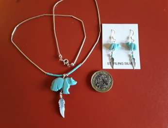 Turquoise Bear & Feather Necklace & Earrings