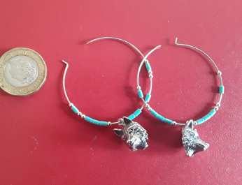 Wolf head and turquoise hoop earrings 3