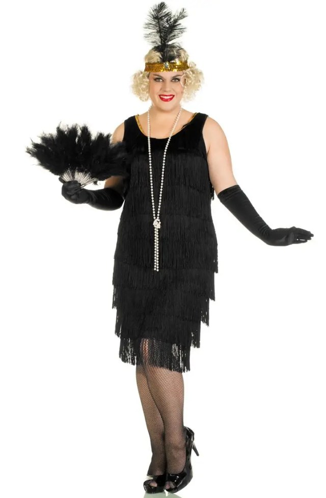 Women's Plus Size Black Flapper Dress | Black 1920s Great ...