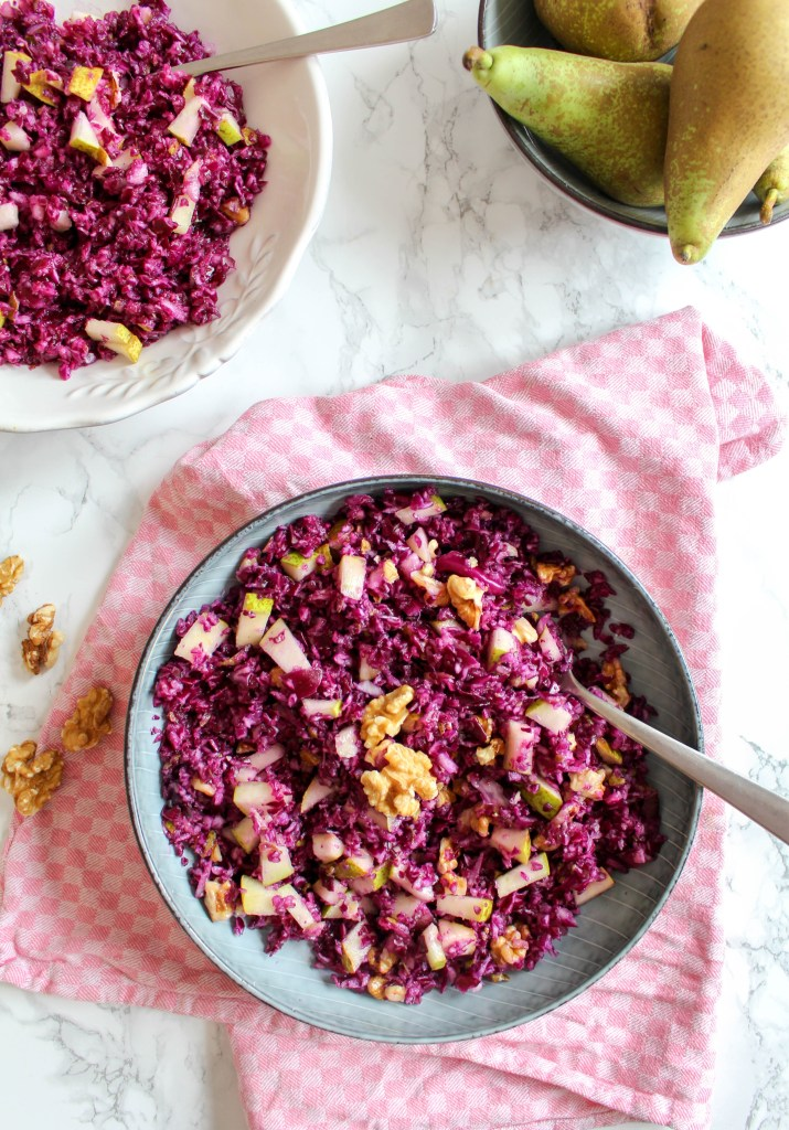 Red Cabbage and Pear Salad with Walnuts - plant based, vegan, gluten free, raw