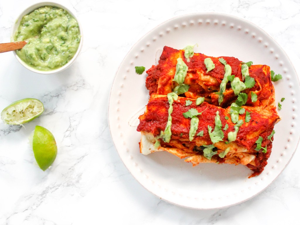 Sweet Potato Chickpea Enchiladas - gluten-free, vegan, plant-based, egg-free, dairy-free