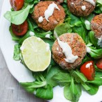 Red lentil falafel with tahini-lime dip