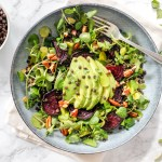 Watercress, Beetroot and Avocado Salad with Beluga Lentils - plant-based, vegan, gluten-free, dairy-free