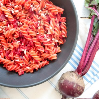 Creamy beetroot and turmeric pasta - plant-based, vegan, gluten free, refined sugar free