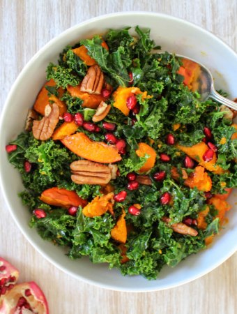Massaged Kale Salad with Roasted Pumpkin Squash