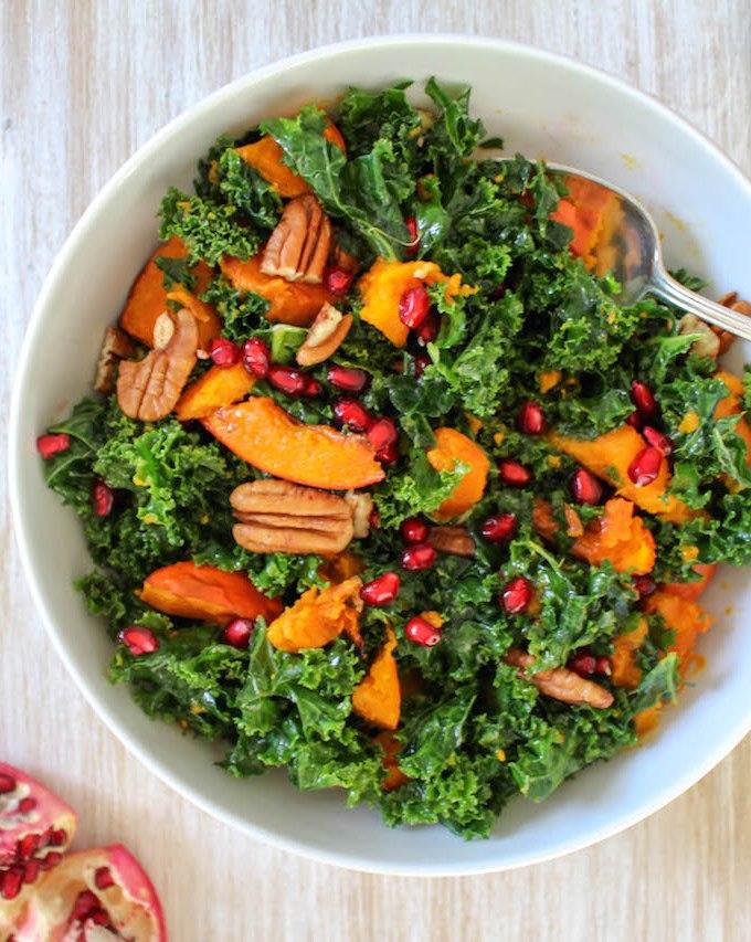 Massaged Kale Salad with Roasted Pumpkin Squash - plant based, vegan, gluten free, refined sugar free - heavenlynnhealthy.com
