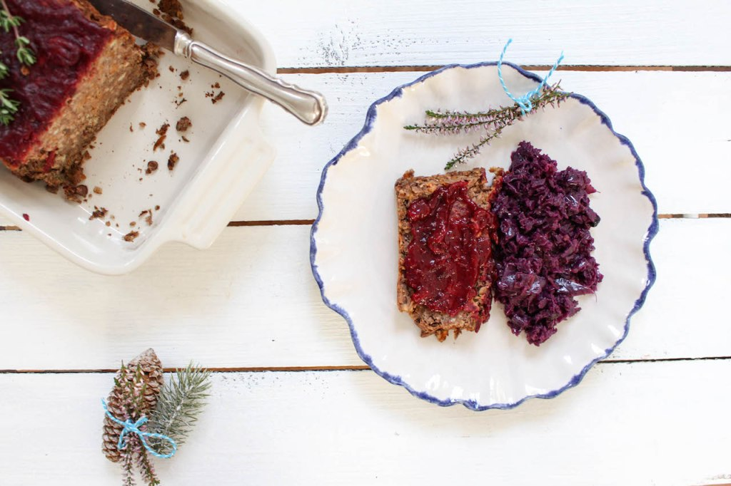 Lentil Loaf with Cranberry Sauce - vegan, plant based, gluten free, refined sugar free - heavenlynnhealthy.com