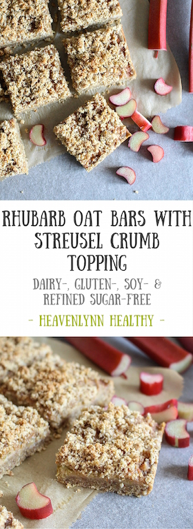 Rhubarb Oat Bars with Streusel Crumb Topping - gluten free, vegan, refined sugar free, healthy - heavenlynnhealthy.com