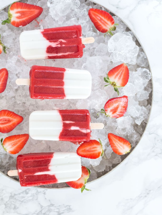 Healthy Strawberry Coconut Popsicles - plant based, gluten free, refined sugar free, vegan - heavenlynnhealthy.com