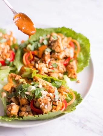Thai Lettuce Wraps with Tofu and Peanut Chili Sauce - vegan, plant based, vegetarian, gluten free - heavenlynnhealthy.com