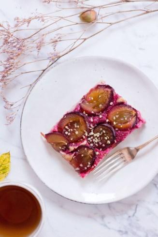 Plum Cake with Buckwheat & Spelt Dough - vegan, plant based, gluten free option, refined sugar free, healthy - heavenlynnhealthy.com
