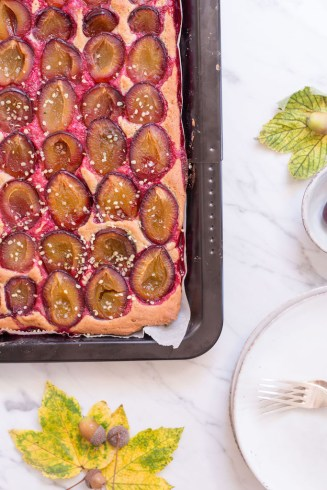 Plum Cake with Buchwheat & Spelt Dough - vegan, plant based, gluten free option, refined sugar free, healthy - heavenlynnhealthy.com