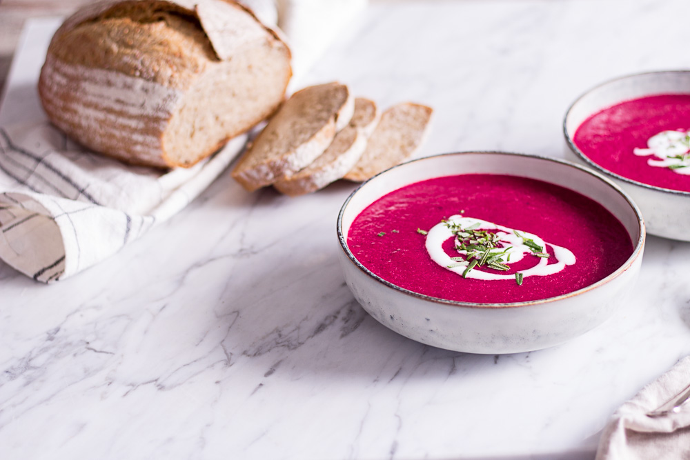 Roasted tomato soup with beetroot and rosemary - plant-based, vegan, gluten free, refined sugar free - heavenlynnhealthy.com